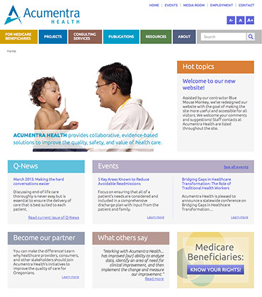 Acumentra health home page