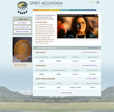 Spirit Mountain Community Fund home page