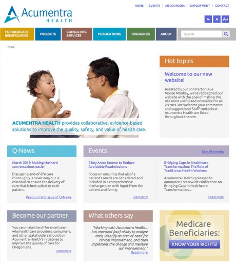Acumentra Health. Web development by Blue Mouse Monkey