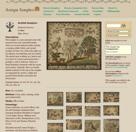 Antique Samplers sampler detail page