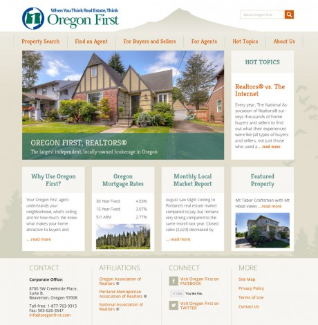 Oregon First, Realtors home page