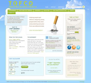 Tobacco Free Coalition of Oregon home page