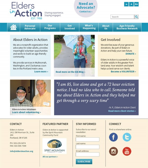 Elders in Action Website Home Page